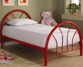 Red Twin Metal Bed