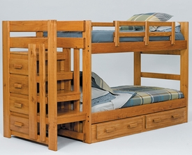 Twin/Twin Pine Stairway Bunk Bed