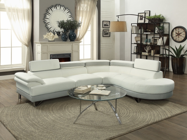 Mowry White and Grey Sectional