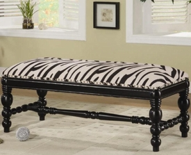 Upholstered Zebra Print Bench