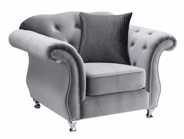 Frostine Silver Velvet Arm Chair