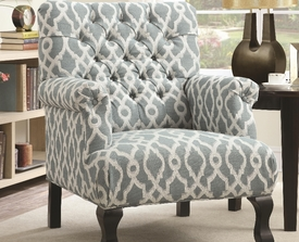 Vintage Blue Button Tufted Accent Chair