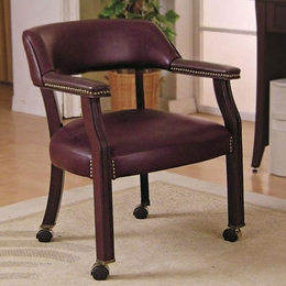 Vinyl Side Chair with Nailhead Trim and Wheels