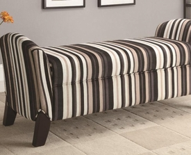 Stripe design upholstered Storage Bench with Curved Ends