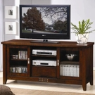 Walnut Finish Media Cosole with Doors and Shelves