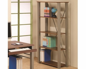 Walnut Finish Open Bookcase with 4 Shelves