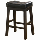 "Warm Brown Cherry Finish 24"" Upholstered Seat Bar Stool"