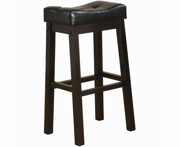 """Warm Brown Cherry Finish 29"""" Bar Stool with Plush Upholstered Seat"""