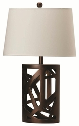 Warm Brown Finished Base Table Lamp with Oval Fabric Shade