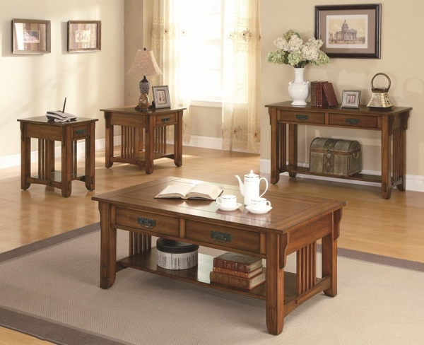 Warm Brown Oak Finish Occasional Collection 3-pc Set