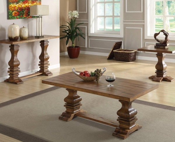 Warm Oak Finish Occasional Collection 3-pc Set