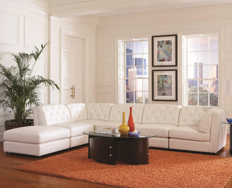 Quinn White Leather Sectional #551021 - Dallas Fort Worth