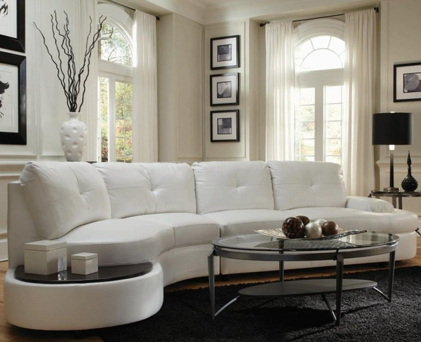 Talia White Leather Sectional # 503431