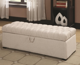 White Button-Tufted Linen-Like Storage Ottoman