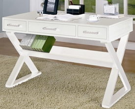 White Finish 3-Drawer Desk with Criss-Cross Legs