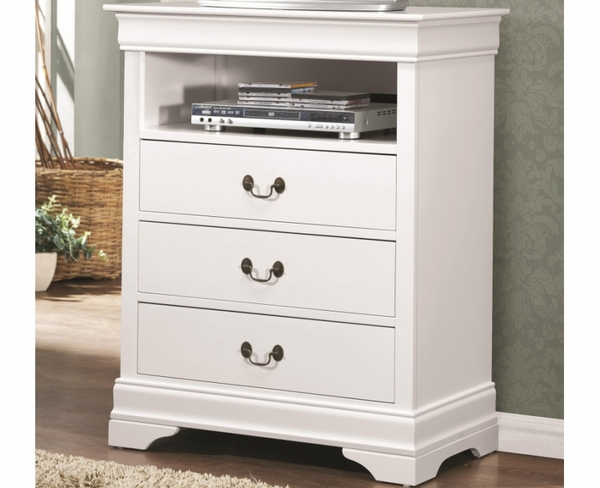 White Finish 3 Drawer Media Chest with Open Compartment