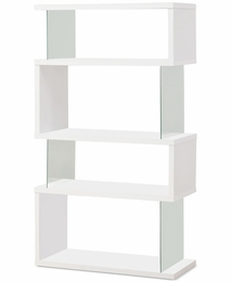 White Finish Asymmetrical Snaking Bookshelf