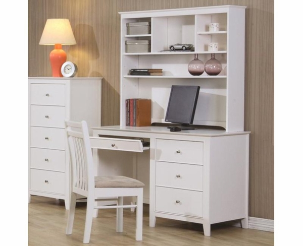 White Finish Computer Desk and Hutch