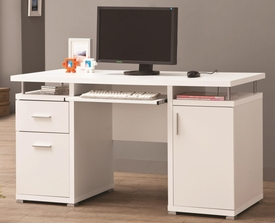 White Finish Computer Desk with 2 Drawers & Cabinet