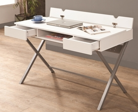 White Finish Connect-It Desk with Built-in Outlet/Storage Compartment