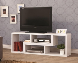 White Finish Convertible TV Console and Bookcase Combination