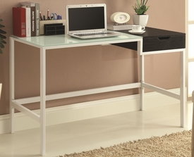 White Finish Glass Top Metal Desk