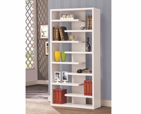 White Finish Interjecting Shelf Bookcase with Center Back Panel