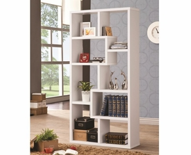 White Finish Multiple Cubed Rectangular Bookshelf
