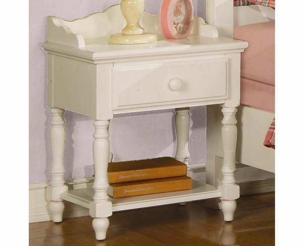 White Finish Night Stand w/ Drawer