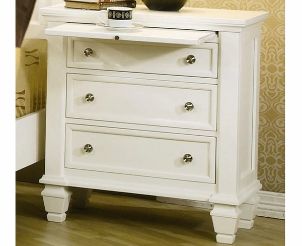 White Finish Night Stand With 3 Drawers By Coaster