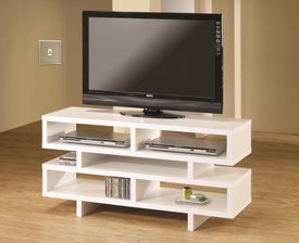 White Finish TV Console with Open Storage