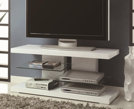 White Finish TV Stand with Alternating Glass Shelves