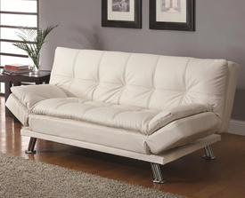 White Futon Styled Sleeper Sofa with Casual Seam Stitching