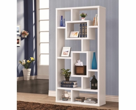 White Geometric Cubed Rectangular Bookshelf