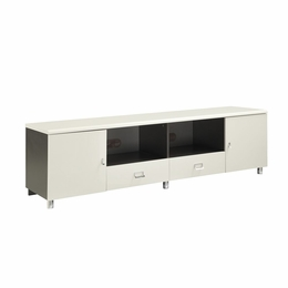 White & Gunmetal Finish TV Console with Chrome Hardware