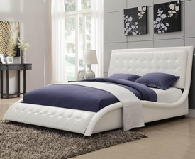 White Leather-like Vinyl Upholstered Queen Bed