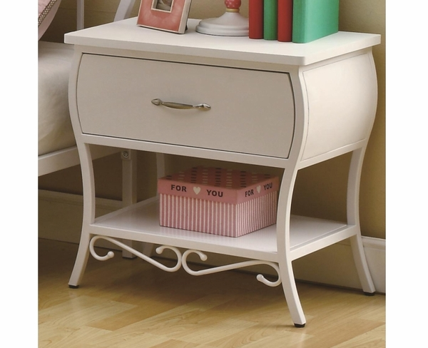 White Color Finish Metal Night Stand By Coaster Furniture