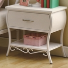 White Color Finish Metal Night Stand