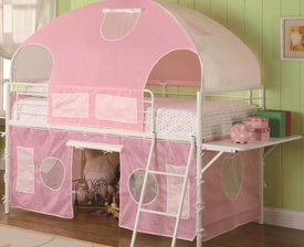 White & Pink Tent Bunk Bed