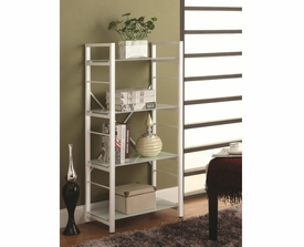 White Powder Coated 4 Shelf Linear Black Metal Bookcase