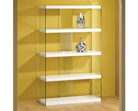 White Shelves Tempered Glass Display Cabinet
