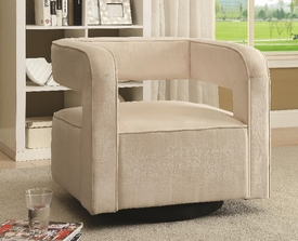 White Velvet Swivel Accent Chair