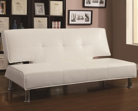 White Vinyl Upholstered Adjustable Armless Sofa Bed