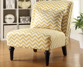 Yellow and White Chevron Accent Chair