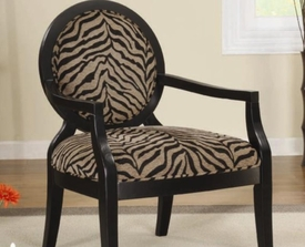Zebra Print Accent Chair with Exposed Wood Arms