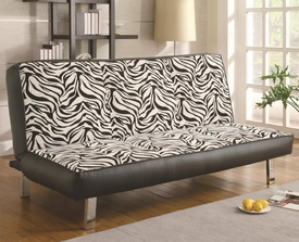 Zebra Print Sofa Sleeper with Fold Down Futon Seat Back