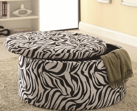 Zebra Print Storage Ottoman with Tufted Seat