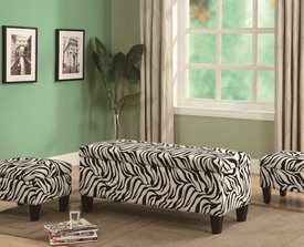 Zebra Print Upholstered Storage Bench and Ottomans