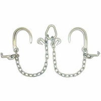 """5/16"""" G4 V Chain with 8"""" J & T hooks and Grab hooks at pear link"""