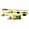 Tie Down Strap with Swivel J Hooks, Tire Grippers & Ratchet